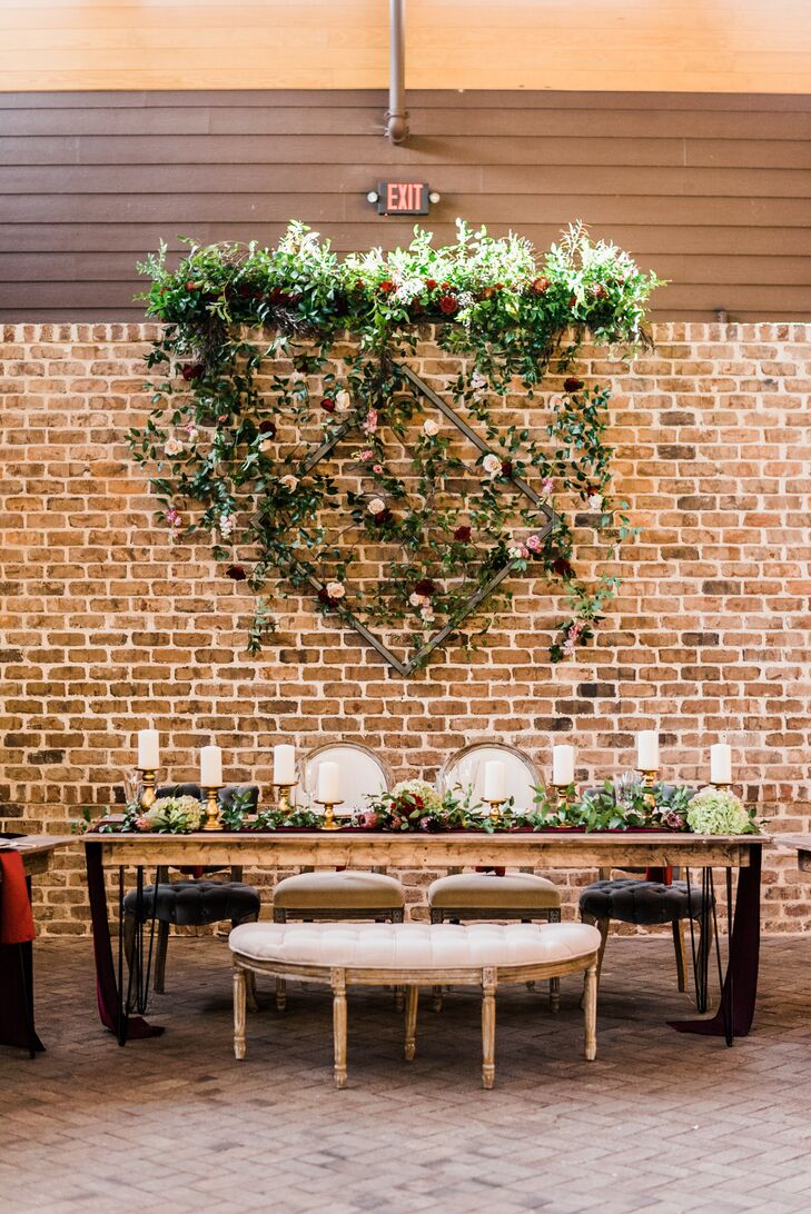 Sweetheart Table with Romantic Hanging Greenery Display