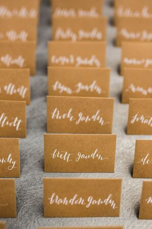 Hand-Lettered Kraft Paper Escort Cards