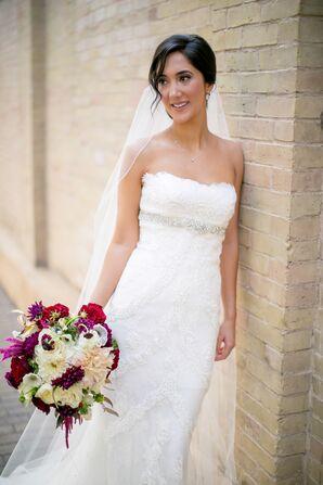 Pronovias Wedding Dress with Feathered Bodice in Austin, Texas