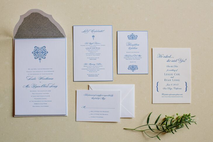 The custom-made invitations were printed on heavy card stock with a cornflower blue border, navy type and a decorative design motif that was echoed on the ceremony programs, the menus, table numbers and place cards. My favorite part of the invitations where the gorgeous envelops because the envelope flap was ornate instead of a straight edge, says Leslie.  All of the design elements pulled together to create a seamless classical yet very contemporary look.