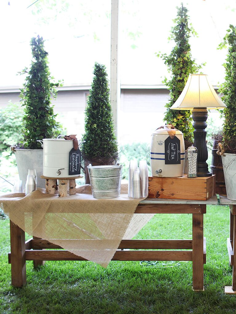 Natural rustic drink station idea for a wedding reception