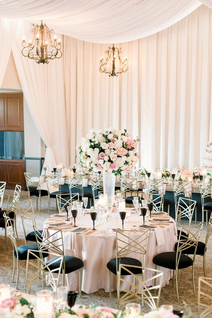 Tall Blush Centerpiece at Luxurious Bel-Air Bay Club Wedding in California