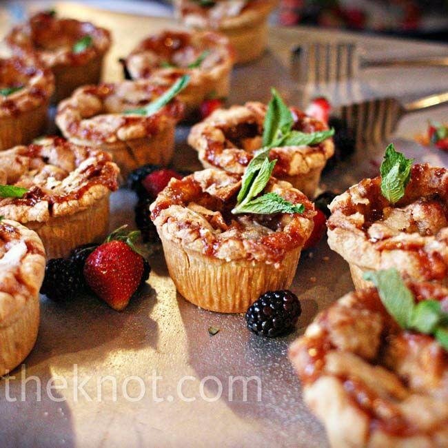 Mini apple pie bites served with fresh berries were a tasty alternative to cake.