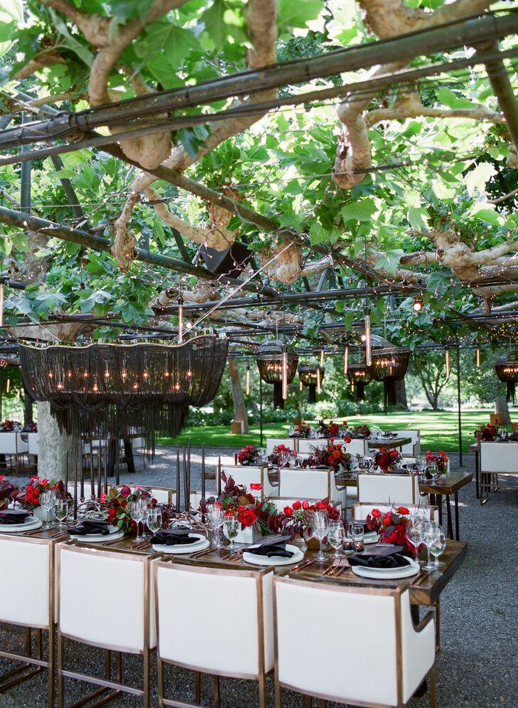 Modern Reception Setup at Beaulieu Garden in Napa Valley, California