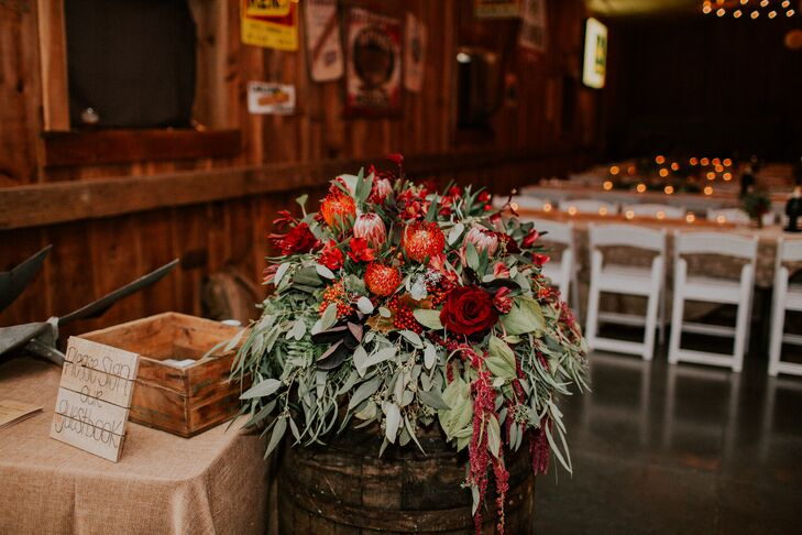 Red Protea and Amaranthus Floral Arrangement