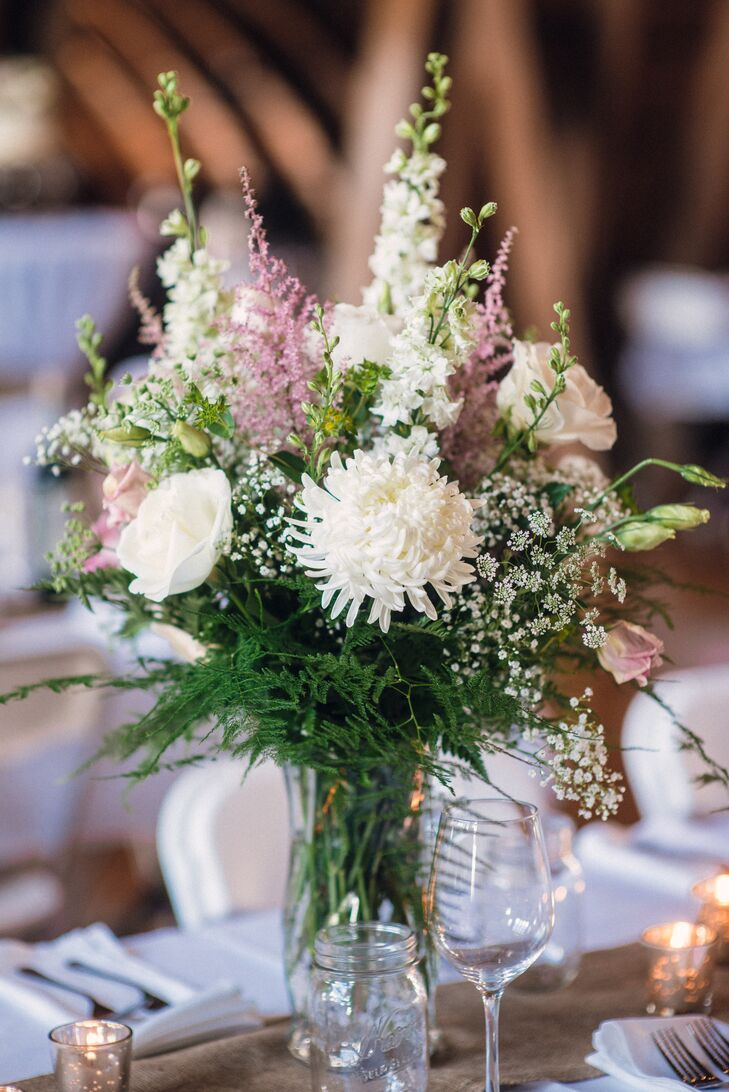 Purple and White Centerpiece with Mums