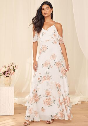 Lulus Take You There Ivory Floral Print Maxi Dress V-Neck Bridesmaid Dress