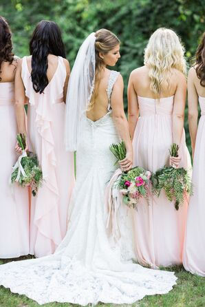 Pink David's Bridal Chiffon Bridesmaid Dresses