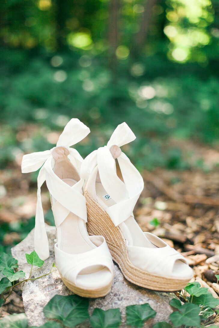 These ivory peep-toe wedges allowed Madison to be comfortable all day, especially walking down the grass aisle at the ceremony. The pair she chose had a ribbon tie that mirrored the style of a ballet slipper.