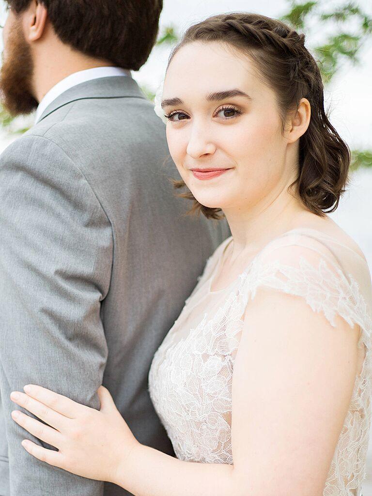 Simple Dutch braid for a short wedding hairstyle