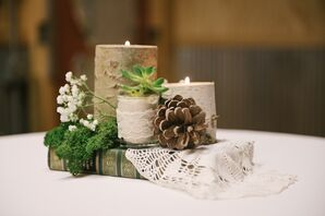 Acorn and Birch Wood Centerpiece With Vintage Books