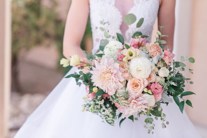 Romantic Pink Dahlia and Rose Bouquet