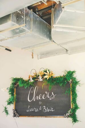 Gold Magnolia Flower-Decorated Chalkboard