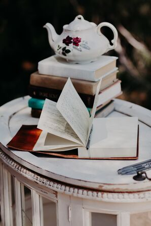 Whimsical Guest Book on Vintage Table