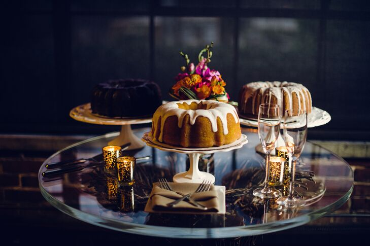 Instead of the more traditional tiered fondant variety, Whitney and Patrick opted for assorted Bundt cakes from Wright's Gourmet.