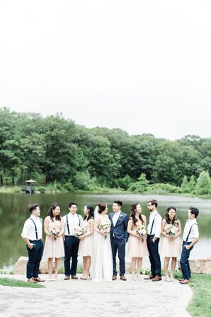 Casual, Blush and Navy Lakeside Wedding Party