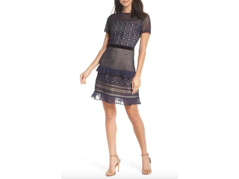 Navy lace and chiffon belted mini dress