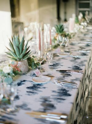 Modern Patterned Tablecloth and Rustic Succulent Centerpieces