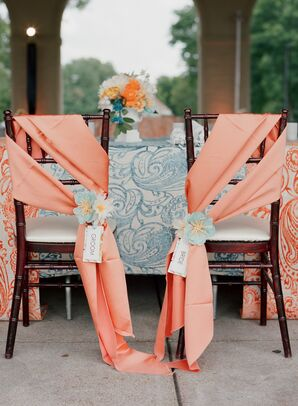 Sweetheart Table with Coral Ribbon and Blue Detailed Linens
