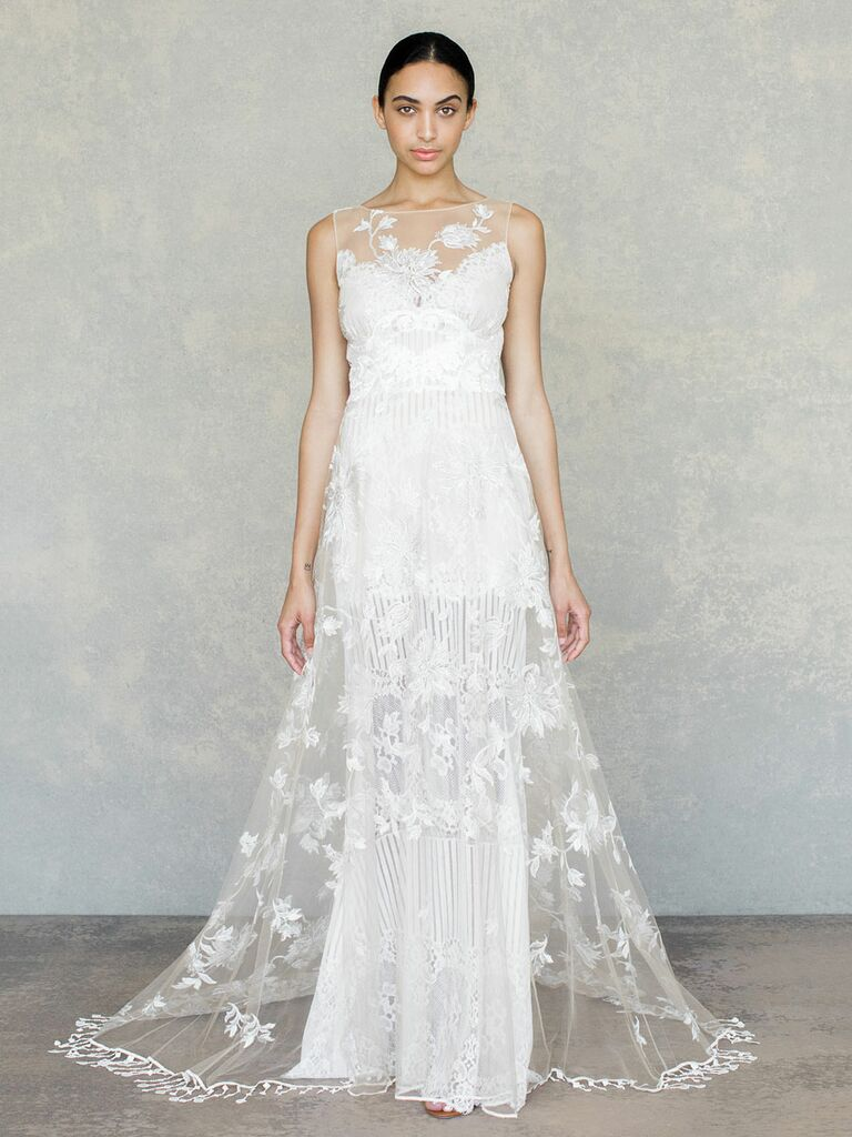 Claire Pettibone Spring 2019 sleeveless floral wedding dress with detailed hem