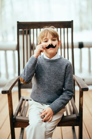 Mustached Ring Bearer for Winter Wedding