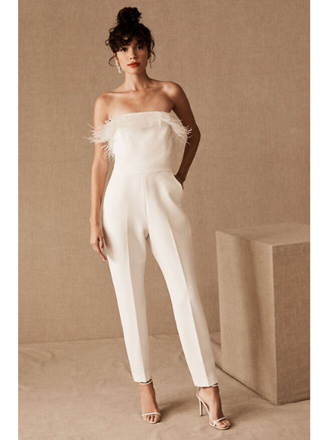 White strapless jumpsuit with feathered neckline