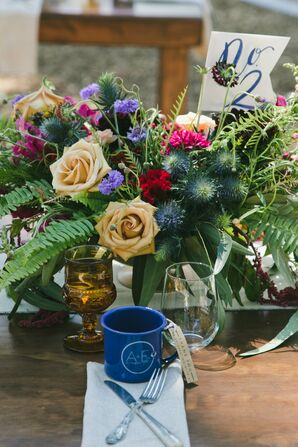 Floral Centerpiece with Roses, Ferns and Wildflowers