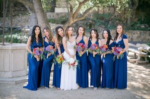 Glamorous Deep-Blue Bridesmaid Dresses