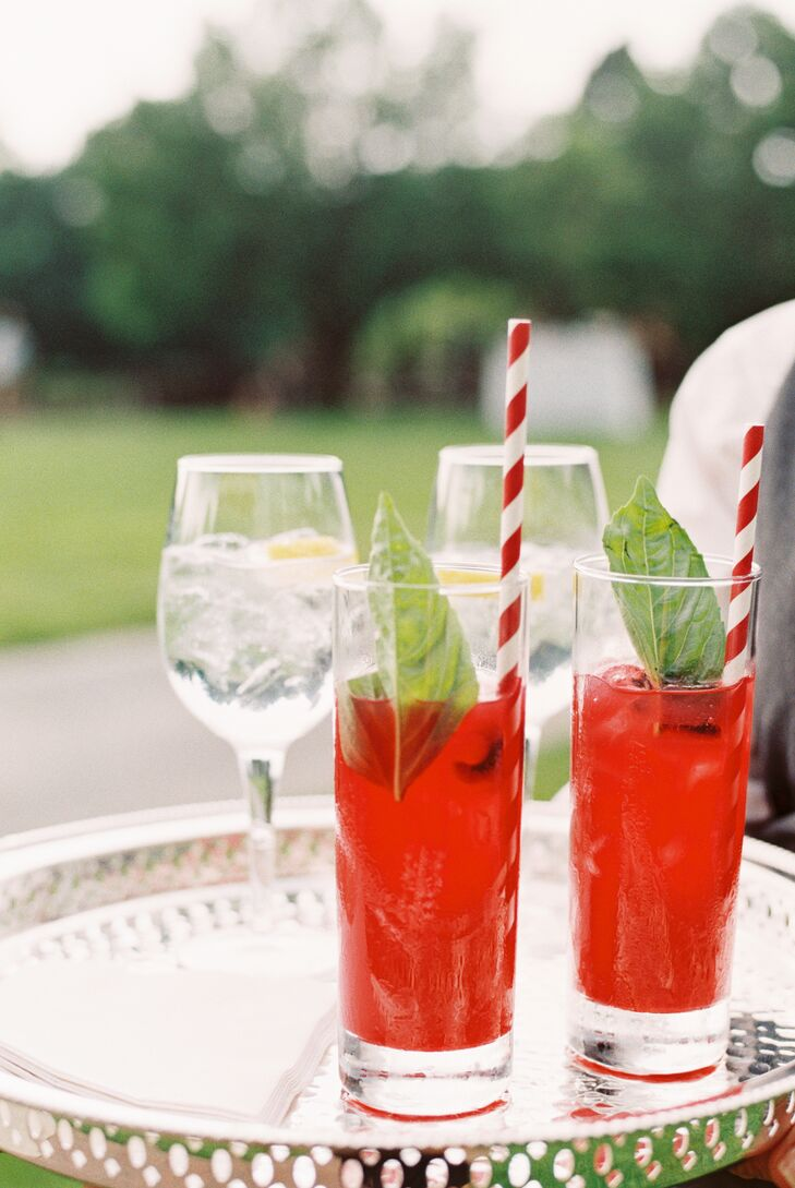 Strawberry-Basil Cocktails with Striped Straws
