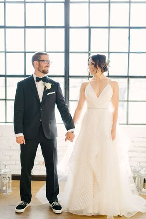A-Line Hayley Paige Gown with Tiered, Geometric Organza