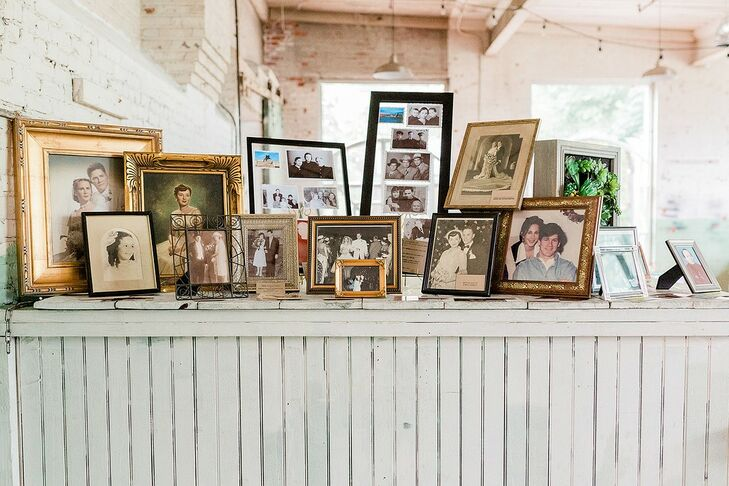 Vintage Photo Display with Mismatched Frames