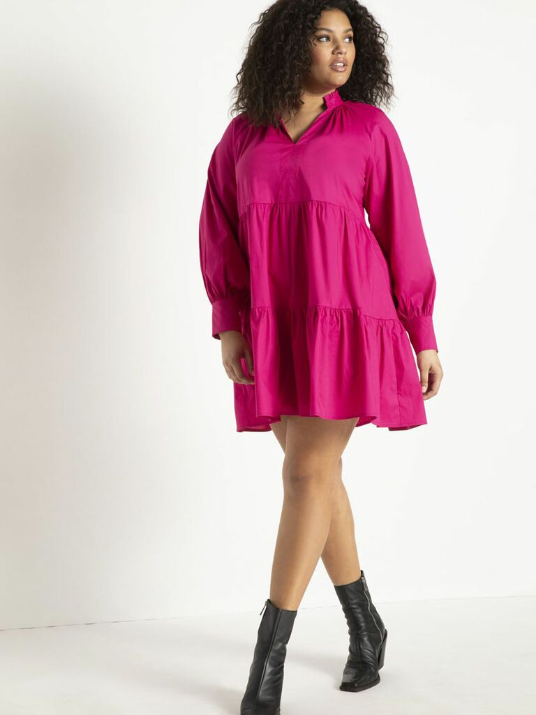 magenta mini dress with tiered skirt and puff sleeves