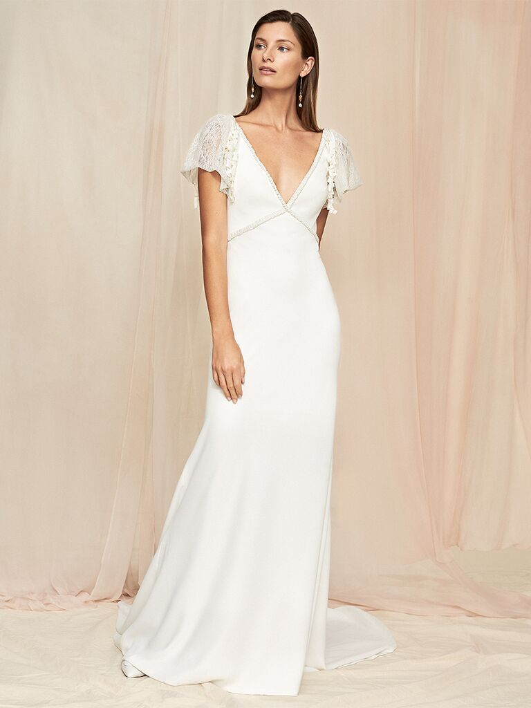 Savannah Miller dress with lace sleeves and V-neckline