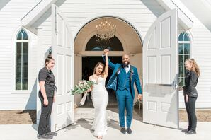 Romantic Couple with Formfitting Dress and Blue Tuxedo