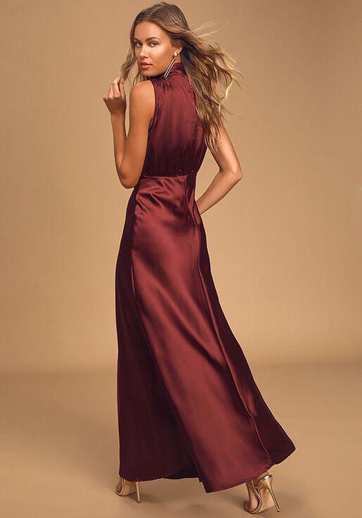 Lulus Classic Elegance Wine Satin Sleeveless Mock Neck Maxi Dress Bridesmaid Dress