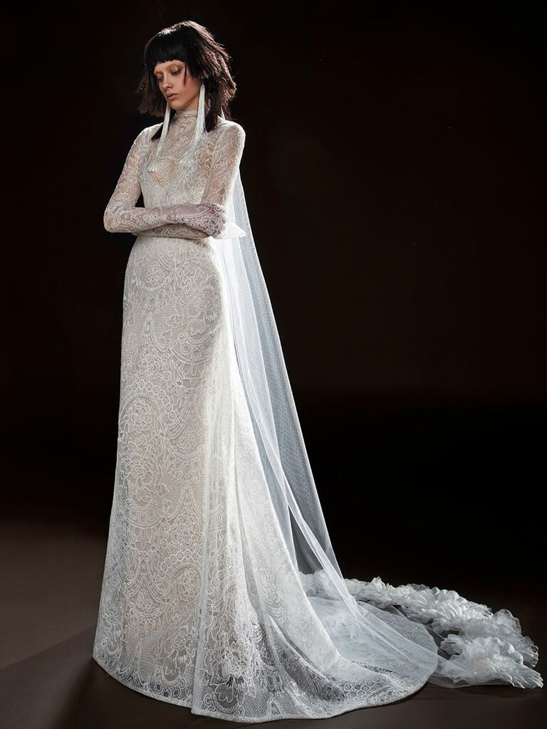 744d816c626 Vera Wang Spring 2018 ivory macrame lace long sleeve wedding dress with  A-line skirt