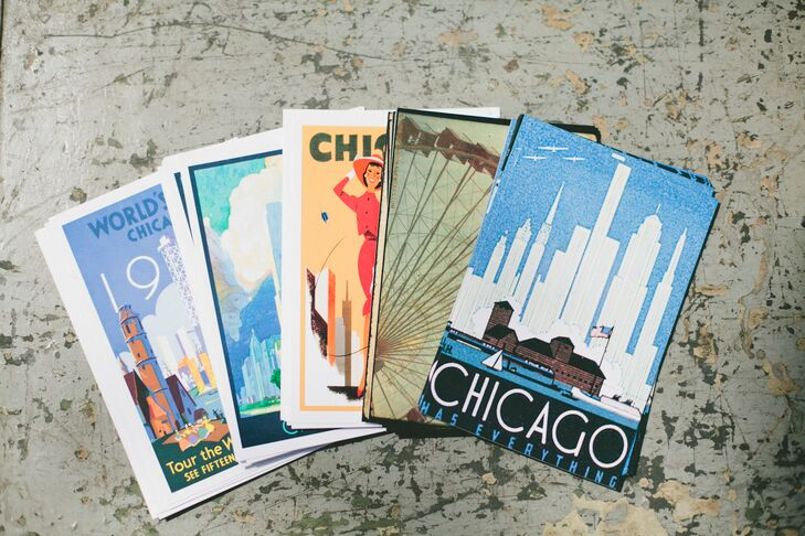 Colorful vintage postcards from cities across the globe provided guests with a unique way to share their well wishes and marriage advice with the newlyweds, while tying into the day's vintage undertones.