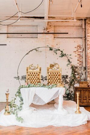 Whimsical Sweetheart Table with Gold Thrones, White Linen and Circular Arch