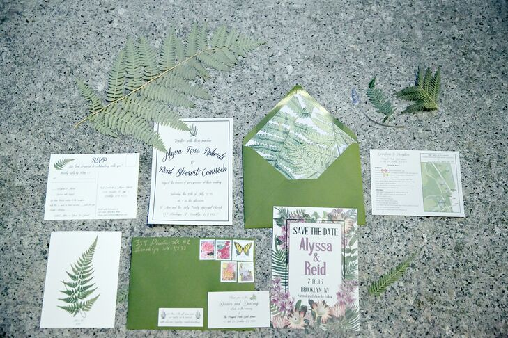 Pink and Green Botanical-Inspired Stationery with Ferns