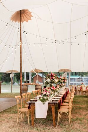 Rustic Tented Reception with String Lights and White Table Runners
