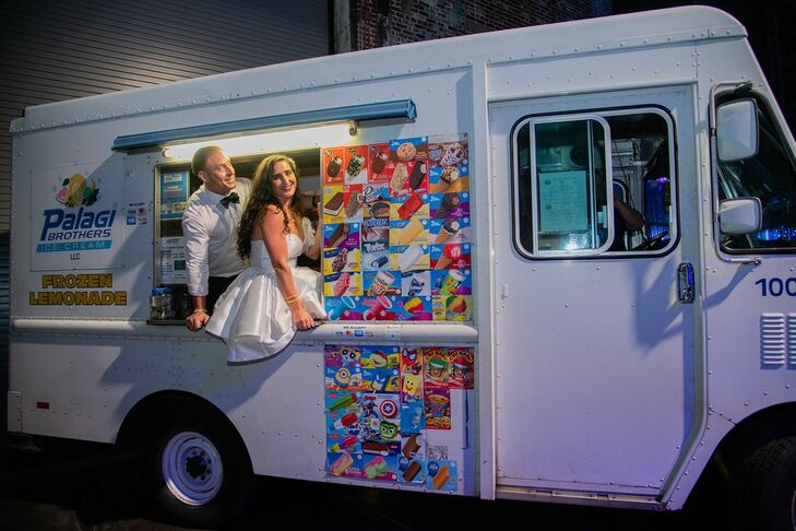 Modern Bride and Groom in Ice Cream Truck