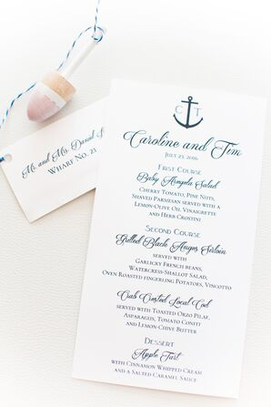 Nautical Navy Dinner Menu With Anchor Detail