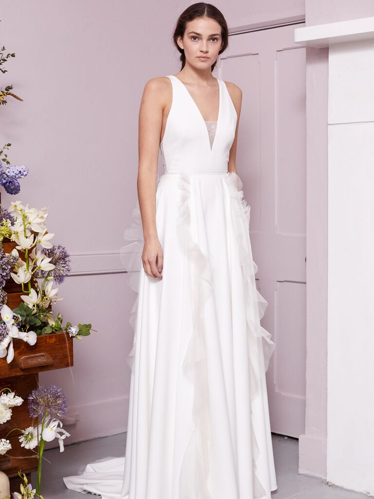 Halfpenny London 2020 Bridal Collection sleeveless wedding dress with ruffle detail