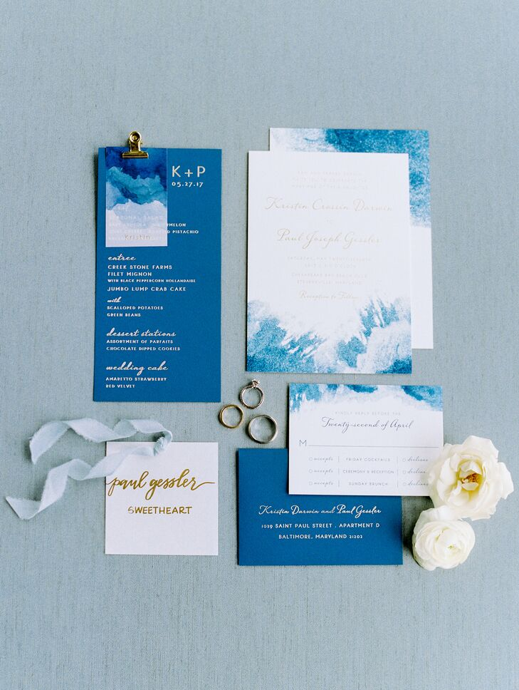 Modern Blue Watercolor Wedding Invitation Suite