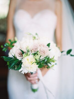 Elegant Pink and Ivory Peony Bouquet