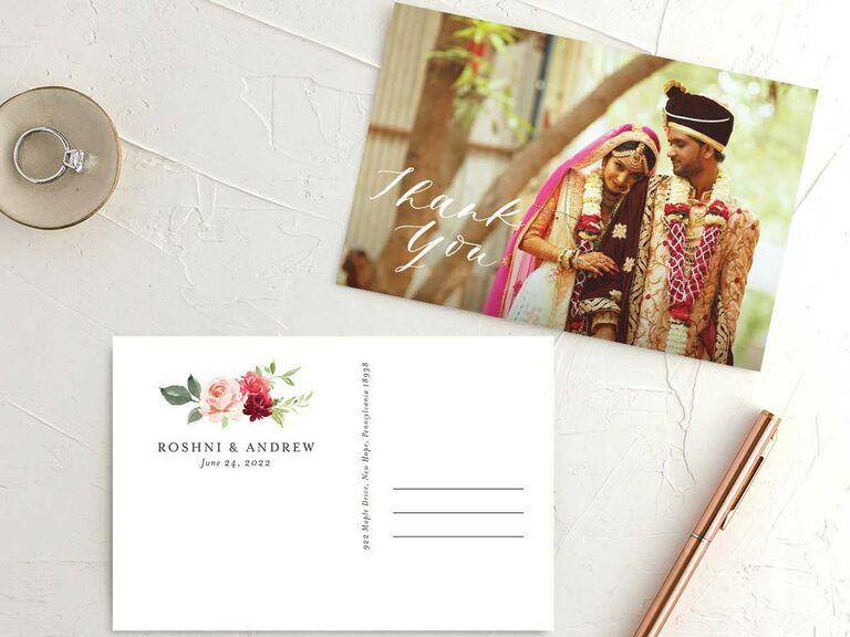 Custom wedding thank-you postcard