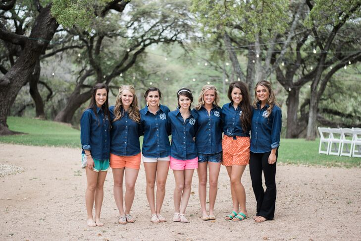 For a rustic wedding in Texas, what better bridesmaid gift than a denim monogrammed shirt to wear while getting ready? These cute denim button-down shirts fit the wedding theme but were still totally chic and feminine.