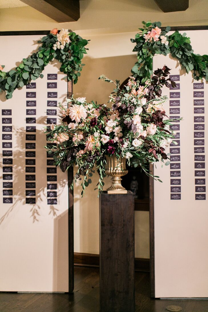 Formal Escort Card Display with Dahlia, Rose and Greenery Arrangement