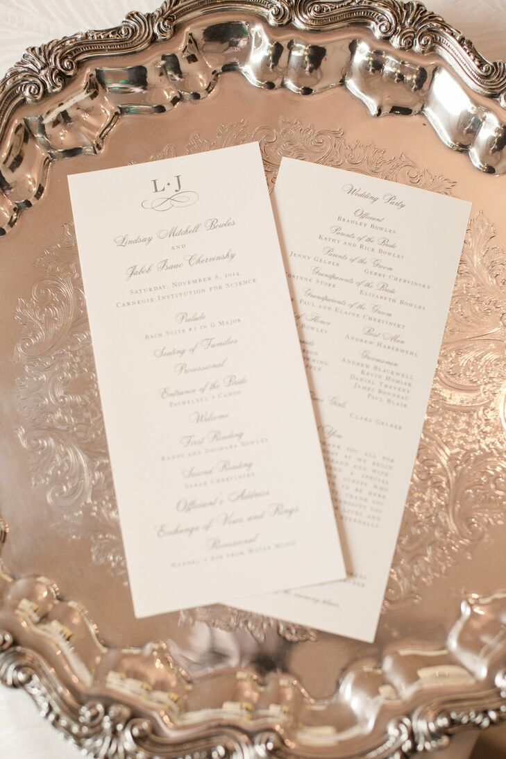 Traditional Ceremony Programs with Silver Calligraphy