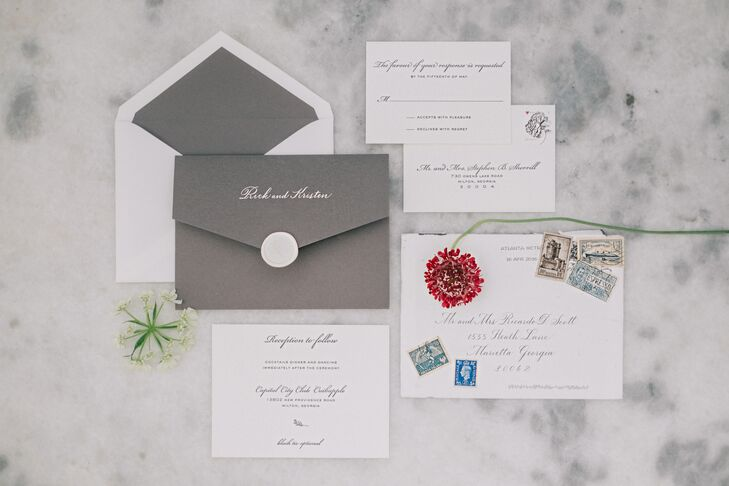 Gray and White Invitation Suite with Vintage Stamps